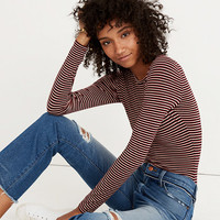 Long-Sleeve Crewneck Bodysuit in Stripe