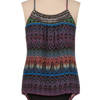 Printed chiffon racerback tank with embellished neckline
