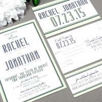 Typography Modern | Wedding Invitation Suite by RunkPock Designs | Bold Classic Script Border Text Invitation Set | shown in mint / navy blue / gray