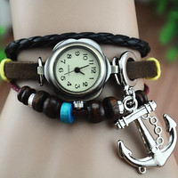 forever2you — Leather Belt Watch with Anchor Pendant and Wooden Beads 136