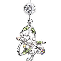 Romantic Vines with Flowers Belly Button Rings
