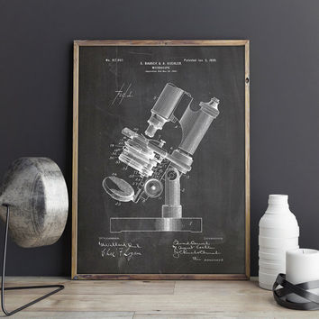 Microscope Art Print, Antique Microscope, Chemistry Poster, Science Student Gift, Chemistry Print, Biology Wall Art,Patent, INSTANT DOWNLOAD
