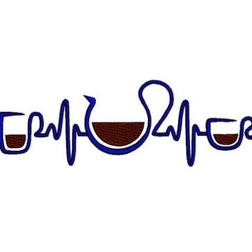 EKG heart beats for coffee embroidery design. EKG barista embroidery design. Coffee cup, coffee mug, coffee pot embroidery design, 5x7hoop.