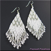 Native American Style Beadwork Seed Bead Earrings in Wedding White and Silver