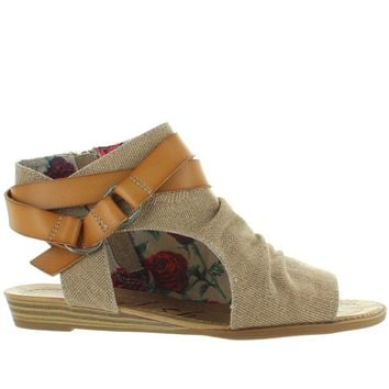 Blowfish Basso - Desert Sand Rancher Canvas Micro Wedge Sandal