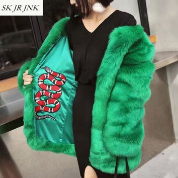 Women Winter Thick Warm Faux Fox Fur Coat Femme Temperament Stylish Snake Embroidery Lined Hairy Shaggy Long Outerwear Coat LW73