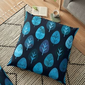 'Watercolor Forest Pattern' Floor Pillow by Creative BD