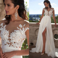 Cap Sleeves Country Beach Wedding Dress with Slit Custom Size 0 2 4 6 8 10 12 14