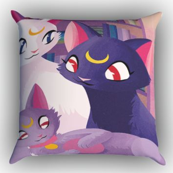 Luna Cat Sailor Moon Y1118 Zippered Pillows  Covers 16x16, 18x18, 20x20 Inches