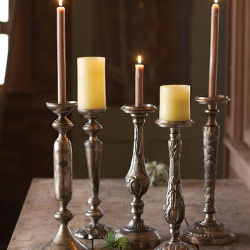 Set of 5 Antique Nickel Plated Candle Holders - One Each Design