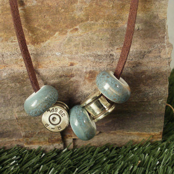 Bullet Casing Jewelry Bullet Necklace Aqua by ShellsNStuff