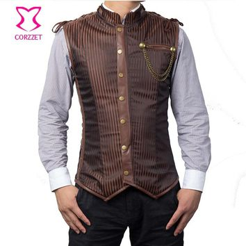 Brown Striped Stand Collar Sleeveless Zipper Steel Boned Vintage Steampunk Corset Jacket Gothic Clothing Men Waistcoat Vest Coat