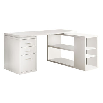 White Hollow-Core Left Or Right Facing Corner Desk