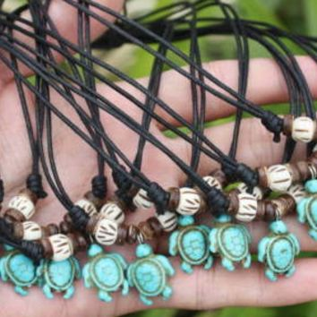 Blue Honu with Bone and Bead Necklace
