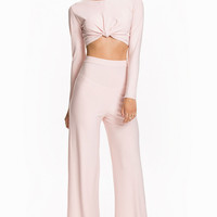 Pink Knotted Long Sleeve Cropped Top Wide Leg Pant Set