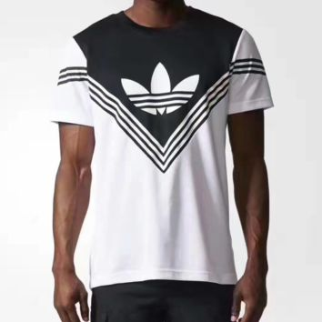 ADIDAS Fashion casual blouse print logo three V stripeT-shirt