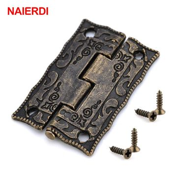 10PCS NAIERDI Antique Bronze Hinges Cabinet Door Drawer Decorative Mini Hinge For Jewelry Storage Wooden Box Furniture Hardware