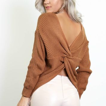 Best Thing Taupe Twisted Back Sweater