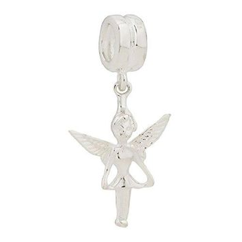 925 Sterling Silver Fairy Flower Angel Dangle with Clear CZ stones Tale Bead Fits European Charms