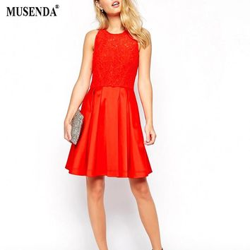MUSENDA Women Girls Lace Patchwork Sleeveless Red Dress Summer Casual Fashion Sexy O-Neck Mini Draped Fit and Flare Dress
