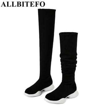 ALLBITEFO genuine leather+Stretch fabrics Elastic boots tube winter snow boots fashion low-heeled over the knee high boots