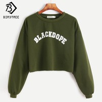 Pullovers 2017 Women Cropped Sweatshirts Loose Soft New Fashion Fall Black Army green Cotton  Sweatshirts