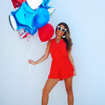 America The Beautiful Romper: Red