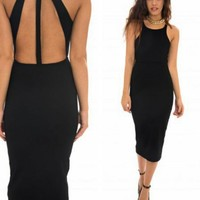 Black Fitted Midi Dress with Open Back Design