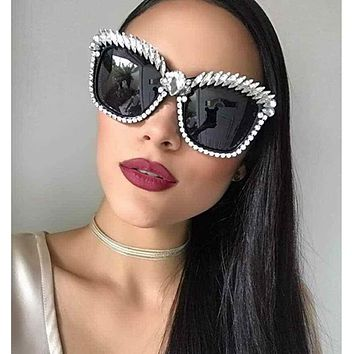 Cat Eye Luxury Crystal Rhinestone Sunglasses