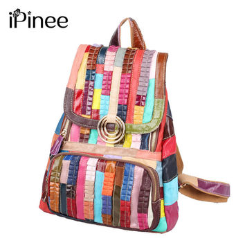 iPinee Fashion Genuine Leather Backpack Women Bags Preppy Style Backpack Girls School Bags Women's Back Pack