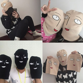 Hot Anime One Punch Man Bald Saitama Embroidered Funny Knitted Hat Women Men Winter Hats Cap Sport Beanies Warm Hat 2016 new