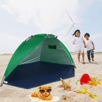 TOMSHOO 2 Persons Outdoor Beach Tents Shelters UV Protecting Summer Tent Sports Sunshade Tent for Fishing Picnic Beach Park