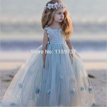 2017 Lovely Design Ball Gown Flower Girls Dress With Handmade Flower Birthday Party Dress Competition Dress Children
