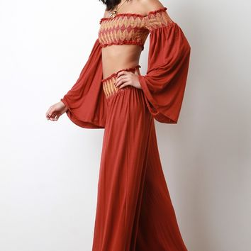 Scallop Seam Crop Smock Top with Palazzo Pants Set