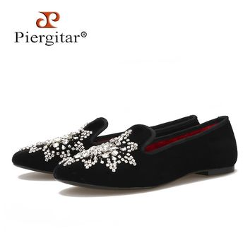 New style Handmade big rhinestone women velvet shoes party and wedding women loafers fashion smoking slippers women's flats