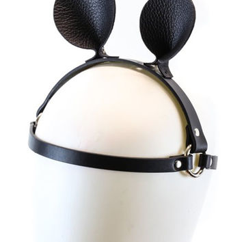 Black Leather Small Mouse Rat Ears Head Harness Headpiece Cosplay Fetish