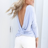 Small Talk Blue Twisted Back Striped Top