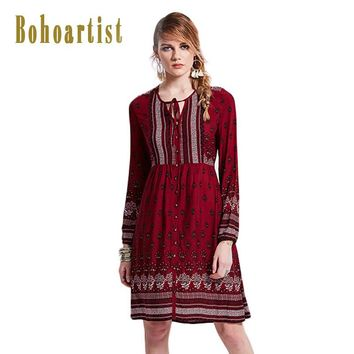 Bohoartist 2017 Summer Women Dress Red Long Sleeve Floral Print V Neck Lace Up Buttons Brief Casual Dress Boho Party Dresses