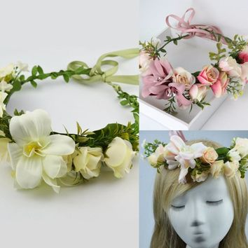 2017 New Fashion Wedding Headband Kids Party Floral garlands with Ribbon Adjustable flower crown Rose Flower Wreath For Women