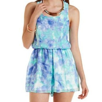 Blue Combo Caged Back Watercolor Print Romper by Charlotte Russe