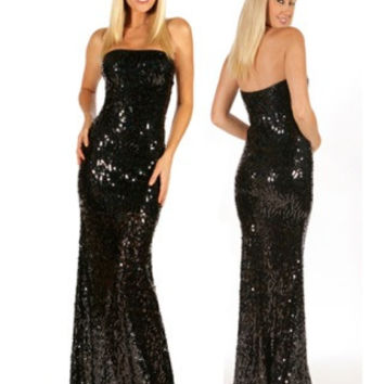 Black Strapless Sequin Gown clubwear