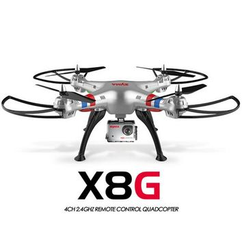 Original Syma X8G 2.4G 6 Axis Gyro 4CH RC Quadrocopter Headless mode Professional Drones with 5MP Camera hd