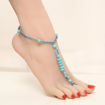 Summer Foot Anklets Jewelry Natural semi precious stone Ankle Charm Bracelets Tornozeleira Stretch Anklets for Women
