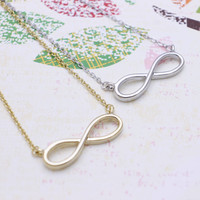 Infinity  necklace in  silver or gold tone