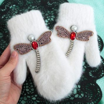 women Gloves winter Crystal dragonfly Rabbit fur brand gloves for female double warm full finger Mittens Christmas gifts