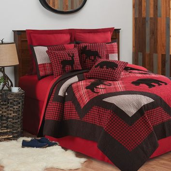 Russell Red Black Plaid Lodge Reversible Cotton Quilt 3 Pc Set in Queen or King
