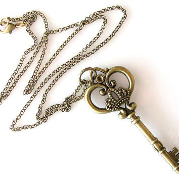 large key necklace, skeleton key necklace, long necklace, crown necklace heart key