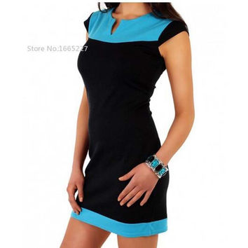 Color Splicing Unique Pattern Tunic Style Cap Sleeve one-piece mini dress S-XXL 4 Color
