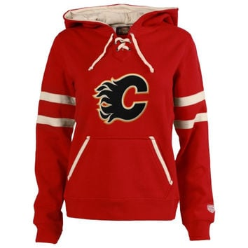 Calgary Flames Old Time Hockey Women's Grant Lace-Up Slim Fit Hoodie - Red