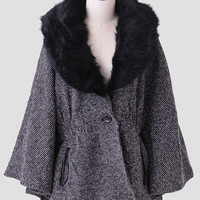 Times Square Faux Fur Cape Coat